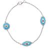 White Gold Blue Diamond Evil Eye Bracelet