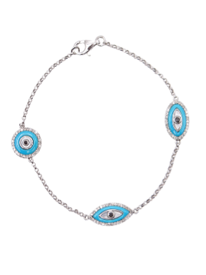 White Gold Blue Diamond Evil Eye Bracelet