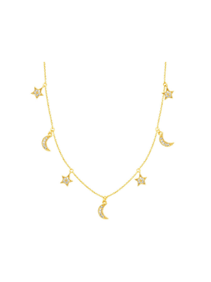 Diamond Moon and Star Dangle Necklace