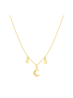 Moon and Star Dangle Necklace
