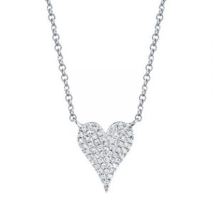Pave Diamond Small Heart Necklace