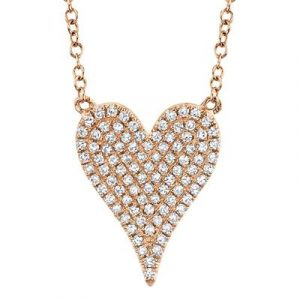 Pave Diamond Medium Heart Necklace