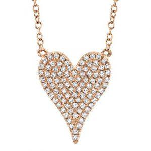 Pave Diamond Medium Heart Necklace