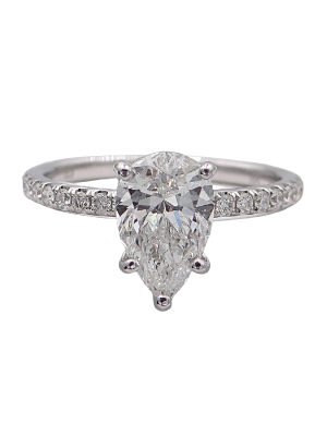 Pear Engagement Ring with Hidden Halo