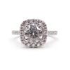Round Engagement Ring with Cushion Cut Halo