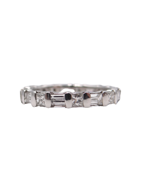 Princess and Baguette Diamond Eternity Band