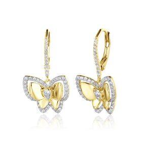 Diamond Butterfly Dangle Earrings