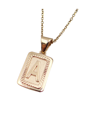 Rectangle Initial Block Pendant