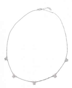 White Gold Multi Diamond Butterfly Necklace